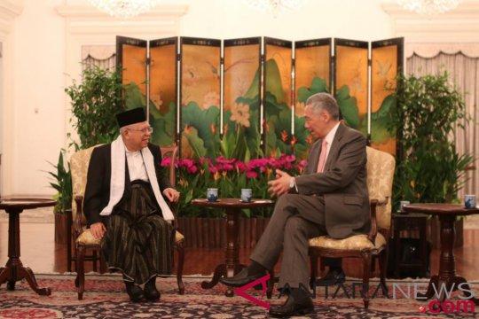Ma'ruf Amin Bertemu PM Lee di Istana Singapura