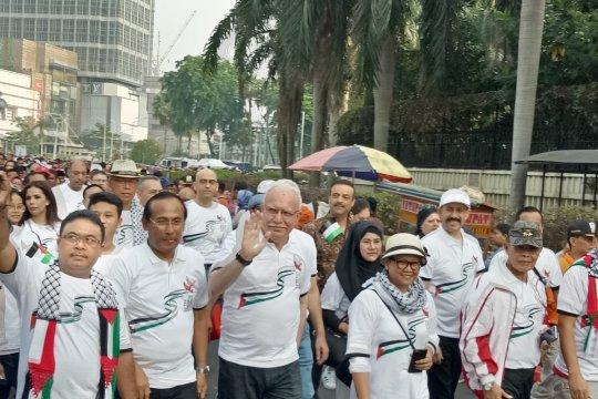 Menlu Indonesia dan Menlu Palestina jalan santai di CFD