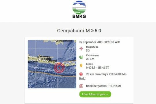 Bali Selatan diguncang gempa berkekuatan 5,3 magnitudo