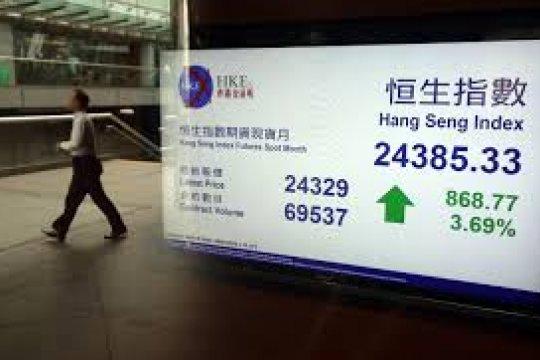 """Saham Hong Kong dibuka """"rebound,"""" Indeks Hang Seng naik 40,28 persen"""