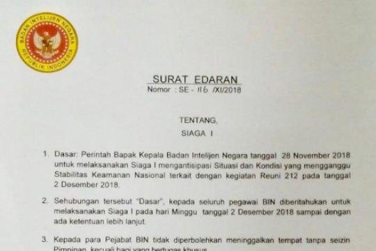 Surat edaran BIN soal Siaga I Reuni 212 hoaks
