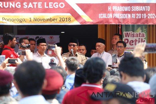 Prabowo minta relawan di Ponorogo kerja keras menang Pilpres
