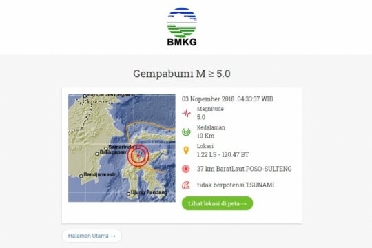 Gempa Magnitudo 5,0 guncang Sulteng