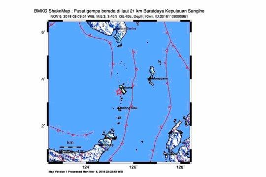 Kepulauan Sangihe diguncang gempa 5,3 Skala Richter