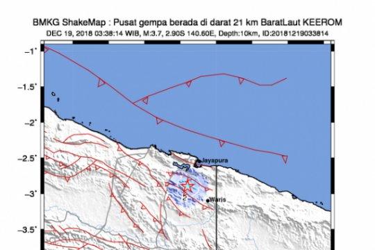 Gempa bumi magnitudo 5,2 landa Keerom Papua