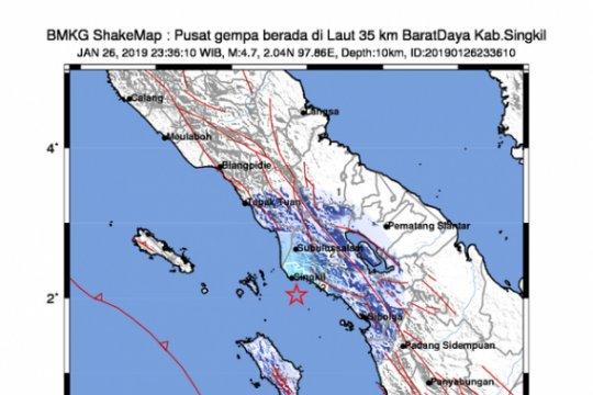 Gempa 4,7 SR goyang Aceh Singkil