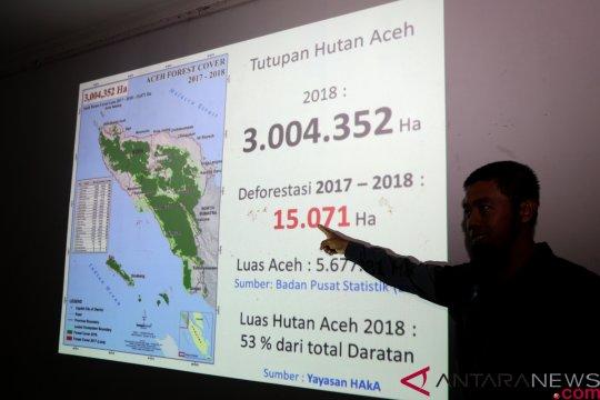 Hutan Aceh berkurang 15.071 hektare sepanjang 2018