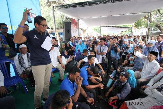 Sandiaga Uno bilang masyarakat ingin dengar langsung visi-misi