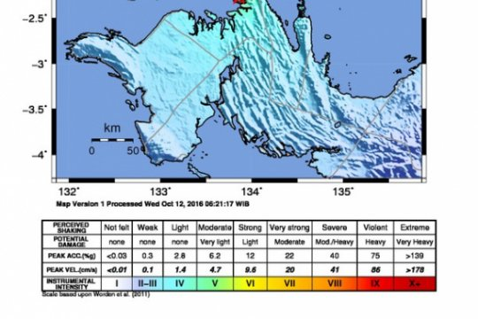 Gempa 3,5 SR guncang Kabupaten Kaimana Papua