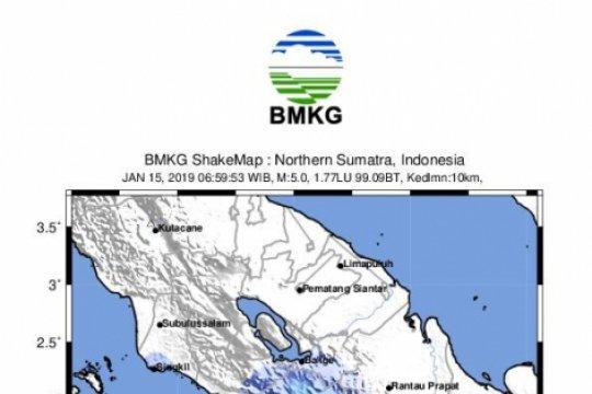 Gempa magnitudo 5,2 di Samudra Hindia pantai barat Sumatera