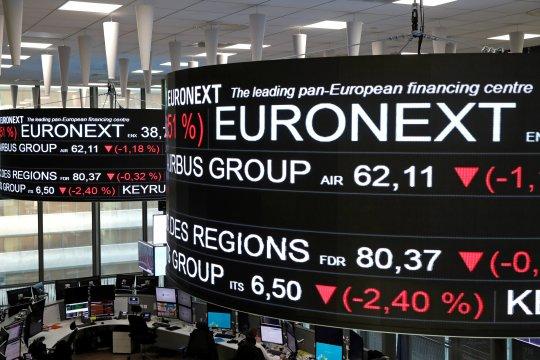 Bursa saham Paris anjlok, Indeks CAC-40 berakhir jatuh 3,12 persen