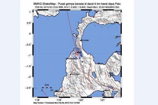Gempa dangkal  di darat guncang Palu