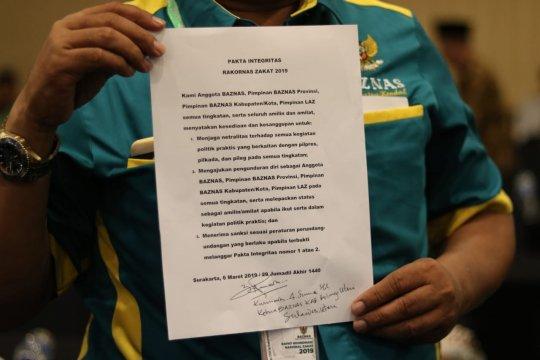 Pimpinan Baznas tandatangani pakta integritas netral dalam Pemilu