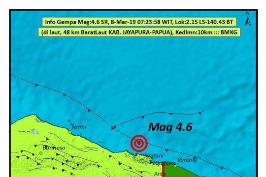 Gempa 4,6 SR Guncang Kabupaten Jayapura