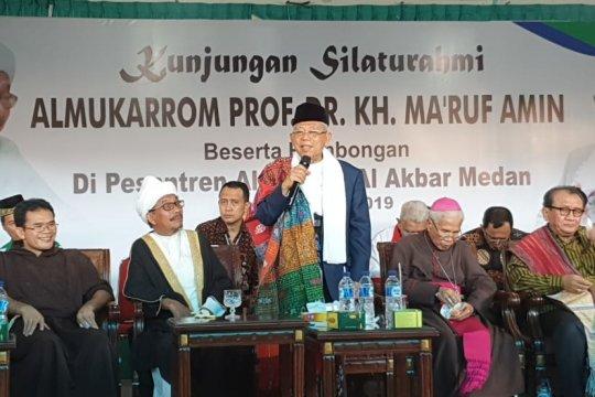 Ma'ruf Amin silaturahmi dengan tokoh lintas agama di Pesantren Al-Kautsar Medan