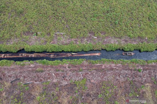 Kanal sungai jadi jalur untuk membawa kayu ilegal