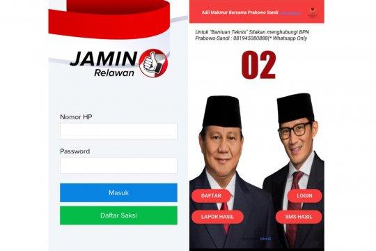 Aplikasi TKN - BPN kawal suara pemilu