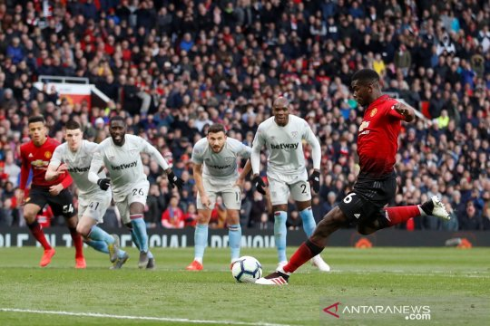 Dapat dua penalti, Manchester United menang 2-1 atas West Ham