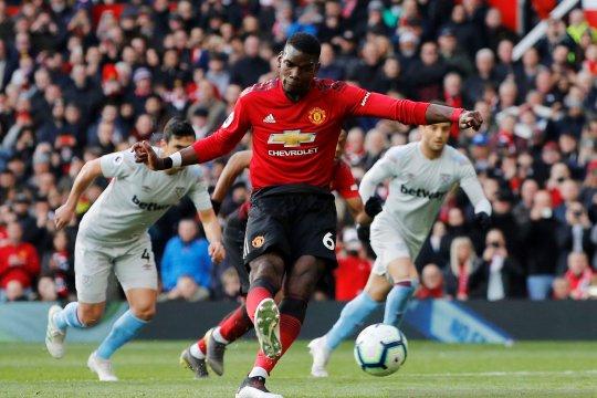 Liga Inggris: Dua gol penalti Pogba menangkan MU atas West Ham