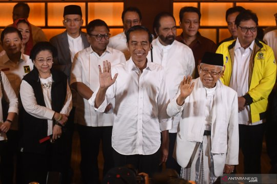 Pernyataan Jokowi - Ma'ruf Amin bersama pimpinan parpol pendukung
