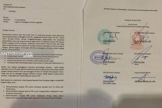 Lima parpol laporkan penggelembungan suara ke Bawaslu Surabaya