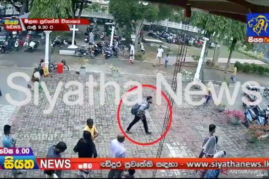 Potongan gambar dari rekaman kamera CCTV terduga pelaku bom bunuh diri Sri Lanka