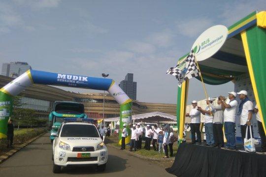 Ribuan pemudik gratis diberangkatkan BPJS Ketenagakerjaan Banten