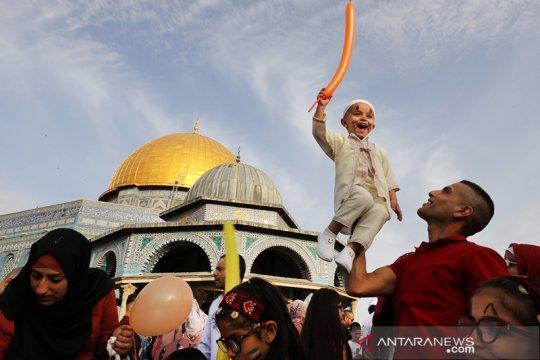 Kemeriahan Idul Fitri 1440 H di pelataran Al Aqsa