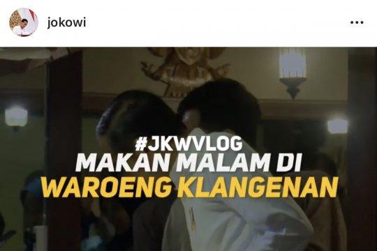 Jokowi bikin vlog bareng keluarga di Waroeng Klangenan Jogja