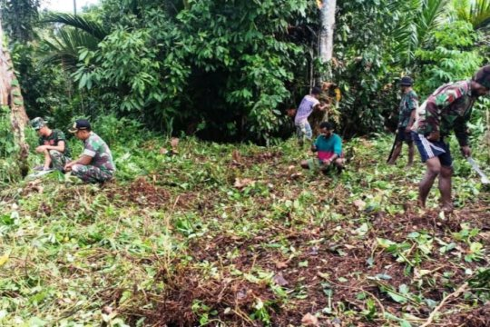 Satgas Pengamanan Perbatasan RI-PNG bersihkan lahan untuk bangun pasar