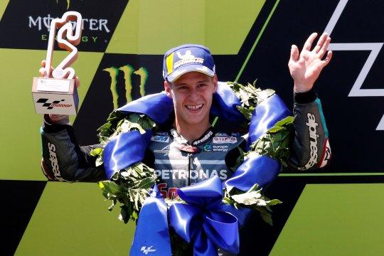 Finis podium MotoGP pertama kali, ini komentar Quartararo