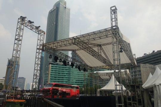 Panggung perayaan HUT ke-492 Jakarta sudah terpasang