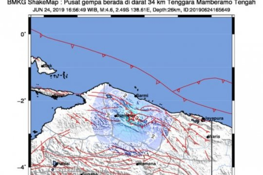 Gempa bumi 4,6 SR guncang Kabupaten Mamberamo Tengah
