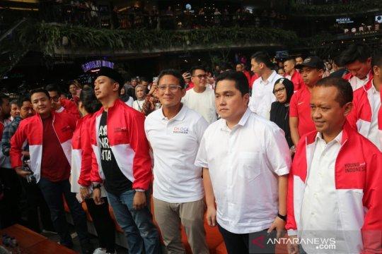 Milenial pendukung Jokowi dan Prabowo membaur dalam merah putih
