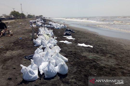 Ada tumpukan pasir bercampur minyak mentah di Pantai Sedari Karawang