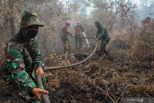 Pemadaman kebakaran lahan di Riau terkendala sumber air mengering