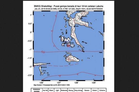 Gempa 3,8 SR terjadi di Kota Labuha Halmahera Selatan