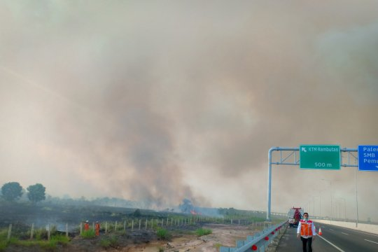 Kebakaran lahan di sekitar Tol Palindra belum berhasil dipadamkan