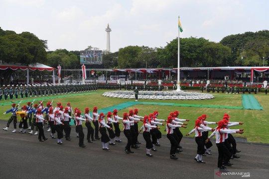 Latihan upacara jelang HUTke-74 Kemerdekaan RI