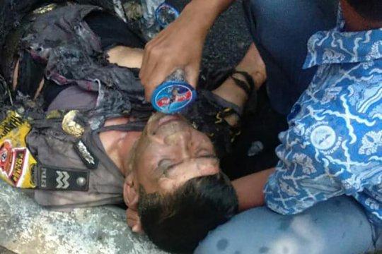 Polisi terbakar paling parah dirujuk ke RS Pertamina