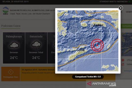 Gempa bumi 4.2 SR guncang kebupaten Kaimana