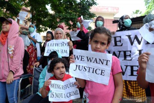 Unjuk rasa imigran di Medan