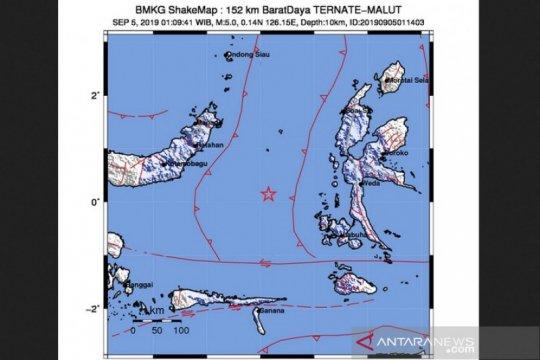 Gempa bermagnitudo 5,0 melanda Barat Daya Ternate