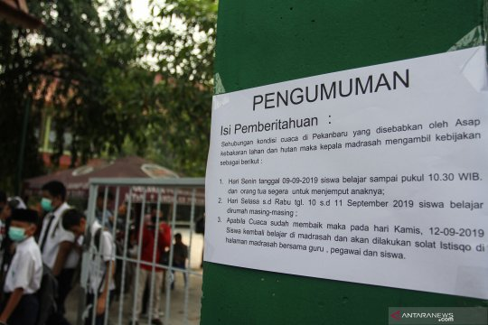 Pemko Pekanbaru perpanjang libur sekolah karena bencana asap