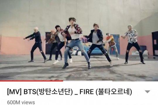 """""""Fire"""" BTS tembus 600 juta kali tayang di YouTube"""
