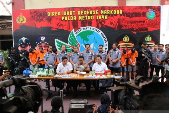 Polda Metro Jaya sita 18 kilogram sabu dan tangkap 12 pengedar
