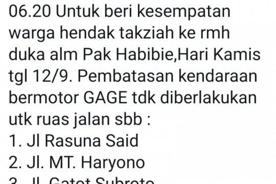 BJ Habibie wafat, tiga ruas jalan ganjil genap sementara distop