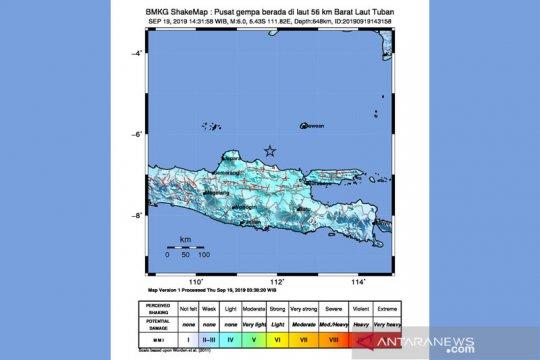 10 daerah di Jatim rasakan gempa Tuban