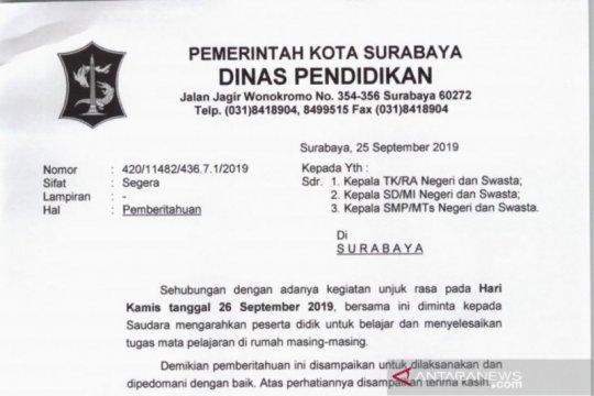Antisipasi demonstrasi di Surabaya, pemkot liburkan siswa sekolah