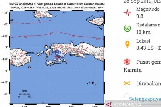 Gempa magnitudo 3,0 landa Ambon